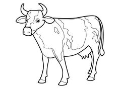 Cute Cow Coloring Pages Ideas. Do your kids like to color a line art? If they do, to give cow coloring pages can be the right solution for you. A cow is a nice Outline Drawings, Animal Drawings, Cute Drawings, Cow Coloring Pages, Free Coloring Sheets, Cute Baby Cow, Cute Cows, Cow Pictures, Pictures To Draw