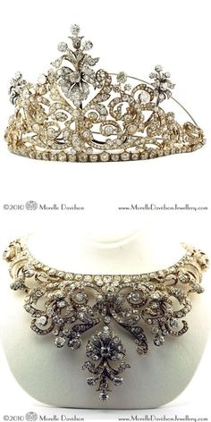 Convertible tiara/necklace. Antique silver and gold tiara with old-cut diamonds in a scroll and stylized flower design. Can be worn as a necklace with two additional elements in gold and silver. Second half 19th century. In original box.