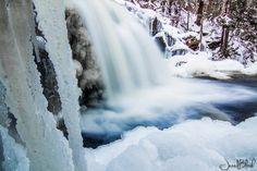 Winter-time Garwin Falls in New Hampshire, courtesy Jared Blash. #waterfall