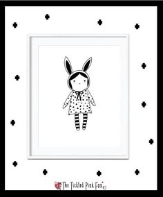 Lulu little girl poster with rabbit ears by thetickledpinkfox Girl Posters, Cute Poster, Rabbit Ears, Little Girls, Illustrations, Unique Jewelry, Handmade Gifts, Etsy, Vintage
