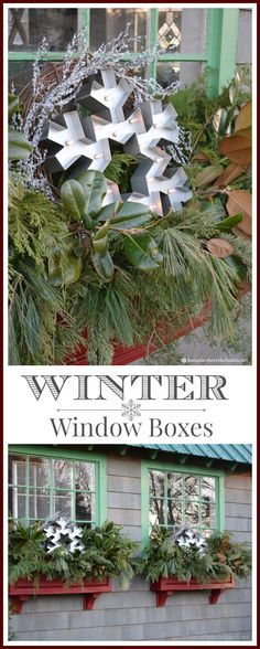 Dress a Window Box for winter with greenery and snowflakes! | homeiswheretheboatis.net #pottingshed