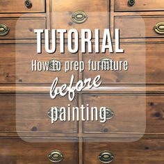 Vintage Furniture FREE TUTORIAL How to prep wood furniture before painting. - I love the look of a distressed dresser and it makes the bumps of life on your furniture so much easier to swallow. Oh, it's gonna happen. It's just a matter of time. Painting Fabric Furniture, Paint Furniture, Furniture Projects, Diy Painting, Furniture Makeover, Furniture Repair, Furniture Cleaner, Salon Furniture, Furniture Market