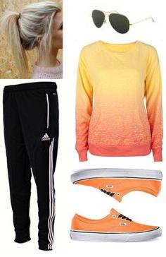 Cute teen outfit. Love everything about it! Orange vans. Volcom sweatshirt. Adidas pants. #teen #fashion