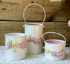 Tin Can Crafts, Crafts To Make And Sell, Diy And Crafts, Distressed Decor, Rice Paper Decoupage, Tin Can Art, Recycle Cans, Shabby Chic Crafts, Beeswax Candles