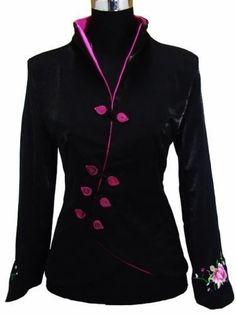 Black Chinese Evening Embroider Women S Silk Satin Jacket Coat Sz S-3Xl b4e88aff15df9