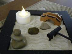 Miniature Zen Garden with Hand Balanced by ThreeStackedStones
