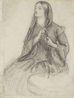 Elizabeth Siddall Plaiting her Hair - Dante Gabriel Rossetti
