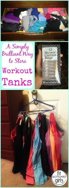 An easy and cheap way to store your workout tanks so that they don't take over a whole drawer! #LifeHack | Fit Bottomed Girls