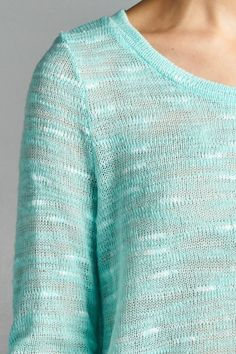 Open Weave Lightweight Sweater--Mint
