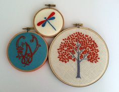Initial. Orange Tree. Dragonfly. hand embroidered. hoop art. monogram. custom letter, alphabet. personalized gift. fiber art. embroidery