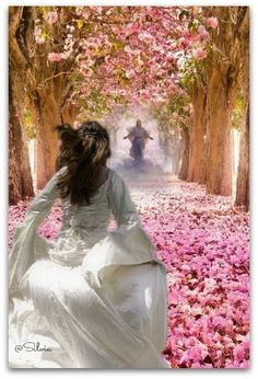 ❤️  Running to my Beloved King Jesus. Beautiful painting of Bride of Christ. Please also visit www.JustForYouPropheticArt.com for more colorful Prophetic art you might like to pin or purchase. Thanks for looking!
