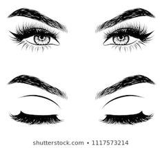 Hand-drawn woman's sexy makeup look with perfectly perfectly shaped eyebrows and extra full lashes. Idea for business visit card, typography vector. Perfect salon look - Buy this stock vector and explore similar vectors at Adobe Stock Eyebrows Sketch, Full Eyebrows, Natural Eyebrows, Fresh Makeup Look, Makeup Looks, Perfect Eyebrow Shape, Perfect Red Lips, Makeup Wallpapers, Outline Art