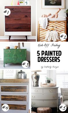 5 Painted Dressers // Makeover old furniture with paint! // Craftivity Designs