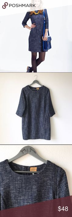 "JOULES French Navy Tweed Textured Shift Dress 8 NWOT 🏴 Size 8 🏴 49% Poly 31% Viscose 20% Acrylic🏴 Bust 20"" Length 35.5"" Measured Laying Flat H12 Joules Dresses Midi"