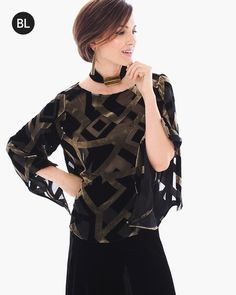 """A gold geometric pattern shakes-up the routine in this sheer flowing top with a decadent velvet touch.    Individual style. Clean, modern lines. The Exclusive Black Label by Chico's™ collection.   Sheer fabrication. Layer over your favorite tank or cami.   Long sleeves.  Length: 24"""".  Rayon, silk.  Machine wash. Imported."""