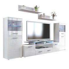 Almada V2 Wohnwand in Hochglanz mit Vitrinen, TV-Aufsatz optionaler LED Beleuchtung von vladon.de