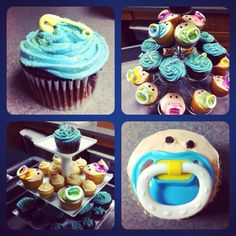 Baby shower cupcakes: use real pacifiers and give them to the mom-to-be after the party!