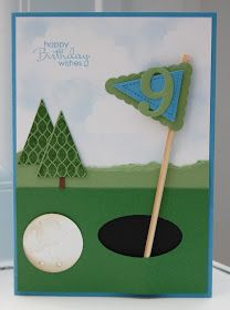 Pennant Parade for golf fans!  card for a golfer using pennant stamps and dies.