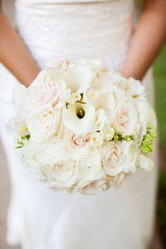 White wedding bouquet | Roses + Cala Lilies | Jen Rios Design