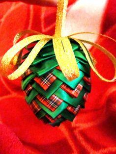 Ribbon Pinecone Ornament Tutorial