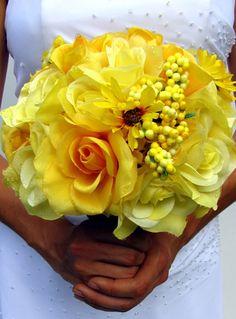Yellow wedding bouquet, so pretty! Yellow Wedding Colors, Yellow Grey Weddings, Nautical Wedding, Floral Wedding, Wedding Bouquets, Wedding Dresses, Yellow Bouquets, Yellow Flowers, Wedding Pics