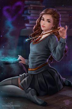 Harry Potter Hermione Granger, Harry Potter Anime, Ginny Weasley, Hermione Granger Fan Art, Draco And Hermione, Harry Potter Artwork, Harry Potter Drawings, Harry Potter Wallpaper, Harry Potter Pictures