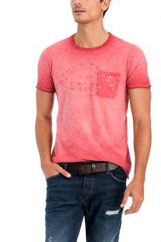 T-shirt Slim com efeitos lavandaria | 118040 VERMELHO FARMER | Salsa