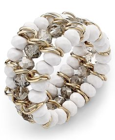 INC Bracelet, White Bead 3 Row Stretch Bracelet