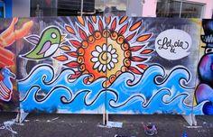 Painel desenvolvido durante o evento Tudo Junto e Mixturado no Nikos Bar. Let&cia. #mandala #sun #colors #sea #wave #brasil #brasilidade #cutebird #graffiti