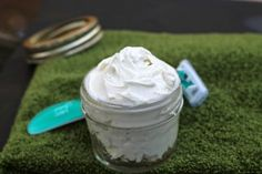 Moisturize your skin while you shave with this refreshing homemade shaving cream. You'll love the simplicity and the luxurious feel.
