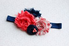 Toddler Headband in Navy and Coral-Adorable :) on Etsy, $12.95- bought one for my niece!  Love love love