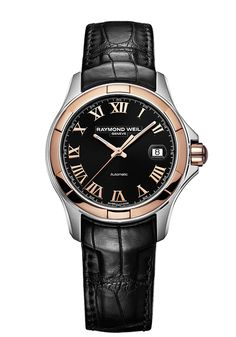 Parsifal 2970-SC5-00208 Mens Watch - Parsifal automatic date Two-tone on leather strap black dial | RAYMOND WEIL Genève Luxury Watches