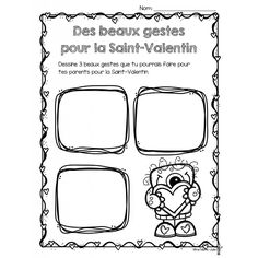 Des beaux gestes pour la Saint-Valentin Valentines Day Activities, Organiser, Spy, Elementary Schools, Worksheets, Classroom, French, Teaching, French Tips
