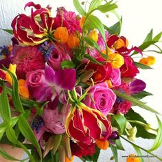 bruidsboeket roze fuchsia veldboeket bont