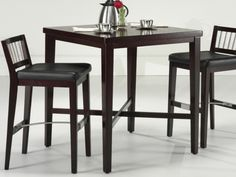 Home Styles 3 Piece Cherry Square Pub Set - Whether you're setting up your man-cave or creating an entertainment room, the Home Styles 3 pc. Cherry Pub Set makes up the perfect drinking station. Pub Table And Stools, Pub Table Sets, Table And Chairs, Pub Tables, Bar Stools, Bistro Tables, Top Table Ideas, Bar Ideas, Art Nouveau