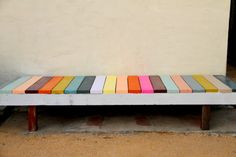 I am making this bench for my patio. Love, love, love. Reminds me of a colorful piano.