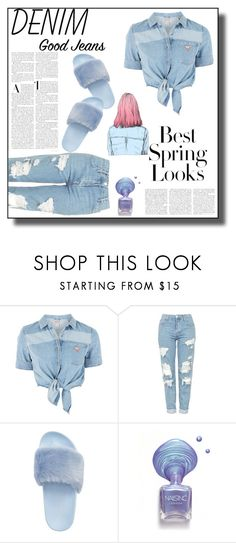 """Tear it up: Distressed Denim"" by veronicawantscurves ❤ liked on Polyvore featuring GUESS, Topshop, Steve Madden and H&M"