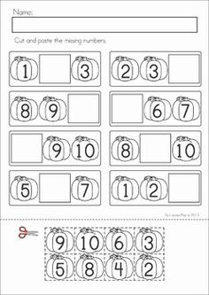 Autumn / Fall Math Worksheets & Activities - (Kindergarten). 52 pages. A page from the unit: Missing Numbers (Pumpkins)