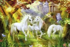 fantasy images unicorns fairies castles | Romance unicorns - castle, lake, unicorn, wilderness, horse, beautiful ...