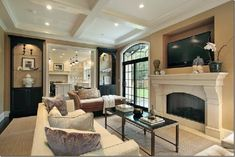 christainmiami: Sophisticated Living room   soft taupe color scheme with black accents. Seagrass rug. ...