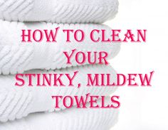 How to Clean Your Stinky Mildew Towels: Wash your towels in hot water with a cup of vinegar, and then run again in hot water with a half-cup of baking soda. That will strip your towels from all of that residue and mildew smell and will actually leave them feeling fluffy and smelling fresh. ***Do not add laundry detergent to either wash. Just once with vinegar and once with baking soda.