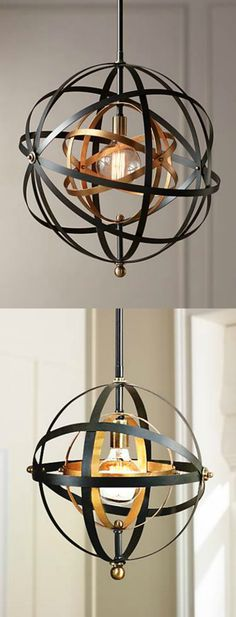 Large and Small Uttermost Bronze and Brass Pendant . Matching sconce and standing lamp also available. LOVE this sphere!!
