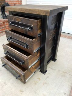 Vintage Industrial Chest of Drawer/ Dresser/ Storage. Blackened Steel with Hardwood top and Reclaimed Woods 2019 Vintage Industrial Chest of Drawer/ Dresser/ Storage. Welded Furniture, Industrial Design Furniture, Steel Furniture, Rustic Furniture, Vintage Furniture, Diy Furniture, Furniture Design, Furniture Removal, Furniture Stores