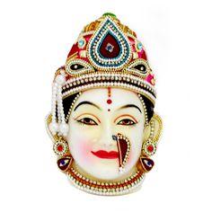 LAKSHMI FACE/ MUKHAVADA / LAKSHMI MASK / VARAMAHALAKSHMI MUKHAVADA:    This Beautifull Goddess Lakshmi mata face adorne with stones,moti malas,kundans,jardosi lace. This decorated mask is usually kept for pooja margashirsha laxmi vrat or during varamahalakshmi Vratha Pooja. This Margashirsha Lakshmi Puja festival is celebrated for 4 Thursdays in the month of Margashirsha. This month is dedicated to God Vishnulaxmi . Thursdays of this month are considered auspicious for goddess Lakshmi…