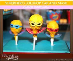 Superhero Lollipop Masks and Capes Printable Party Favors