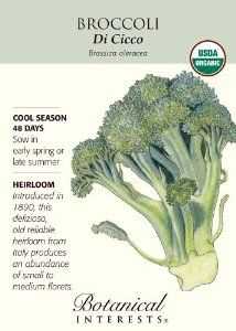 Broccoli Di Cicco Certified Organic Seed by Botanical Interests. $1.79. Heavy producing plant. Certified organic seed. Brassica rapa. Can be planted for both spring and fall crops. Italian variety that produces various floret sizes. Broccoli Di Cicco is a great choice for those wanting to grow fresh broccoli at home. This Italian variety is a heavy producer of various medium size florets. The seed is certified organic and the crop is great for fresh eating (or frozen after b...