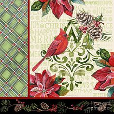 Green Painting - Holiday Cardinals-jp3321 by Jean Plout