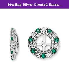 Sterling Silver Created Emerald Earring Jacket. Product Type:Jewelry Jewelry Type:Earrings Earring Type:Cluster Round Material: Primary:Sterling Silver Material: Primary - Color:White Material: Primary - Purity:925 Length of Item:13 mm Width of Item:13 mm Sold By Unit:Pair Completeness:Complete (all stones included) Stone Type_1:Emerald, Lab Created Stone Creation Method_1:Lab Created Stone Treatment_1:Synthetic Stone Shape_1:Round Stone Color_1:Green Stone Size_1:2 mm Stone Quantity_1:14...