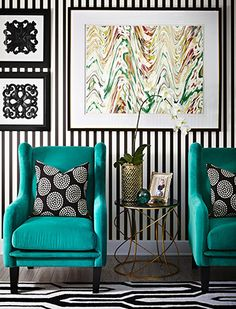 striped walls..with teal!