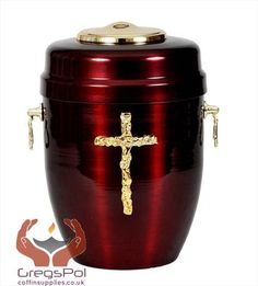 Beautiful Red Metal Cremation Urn for Ashes - Gold Cross. Funeral Urn For Adult (M51)